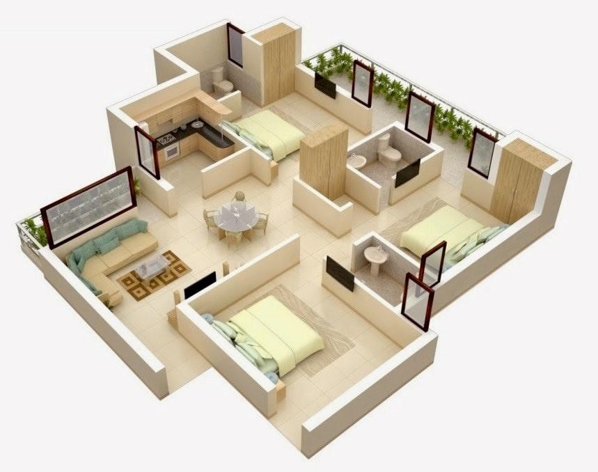 16 Ide Sketsa Rumah Minimalis 3 Kamar Tidur