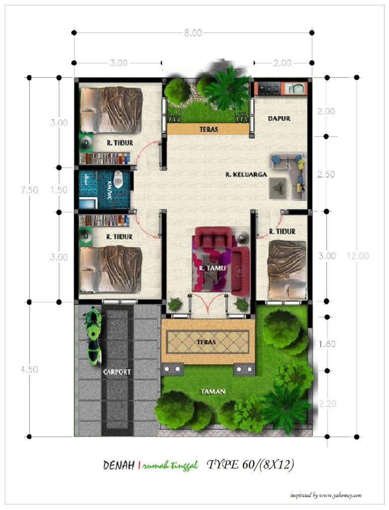 Rumah Minimalis 8 X 12 Omah Jati