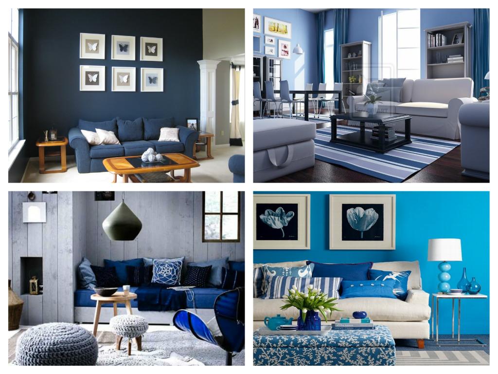 Dekorasi Ruang Tamu Dengan Kombinasi Warna Biru Dan Putih
