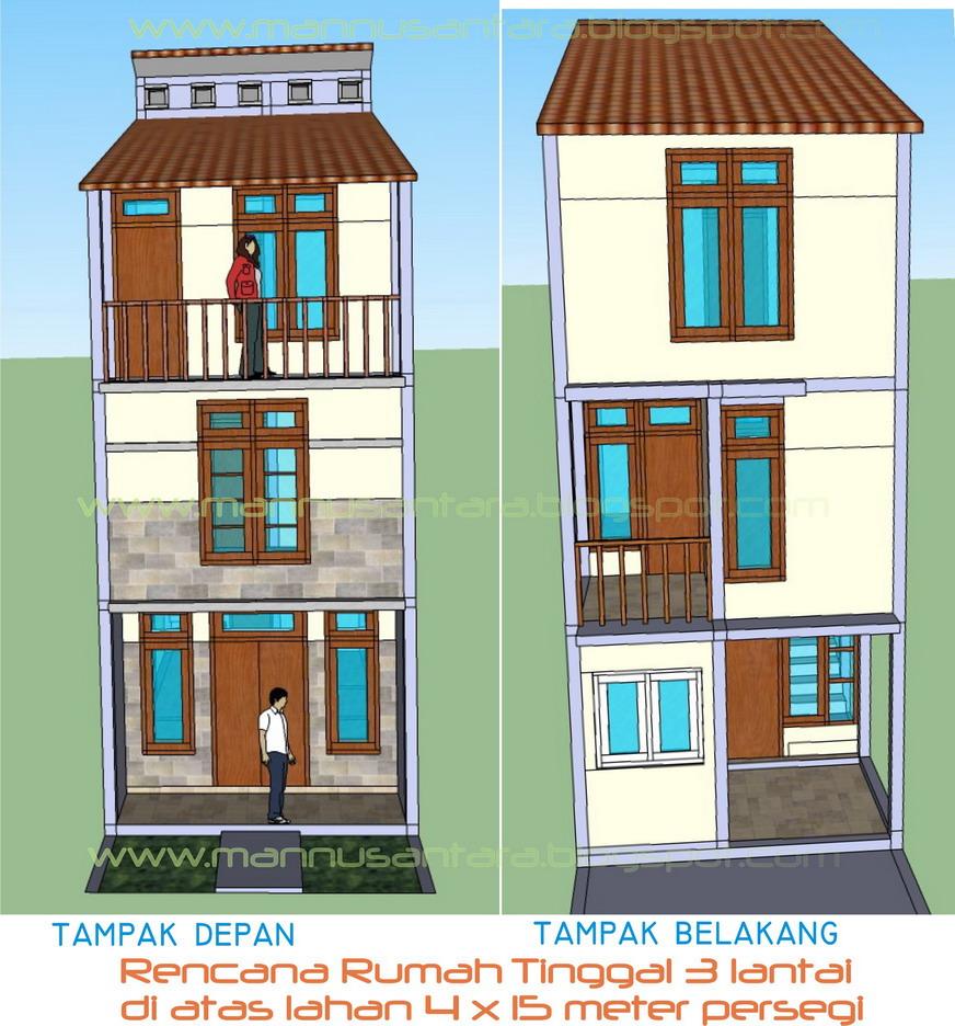 Desain Rumah Tinggal 3 Lantai Di Atas Lahan 4 X 15 Meter Persegi