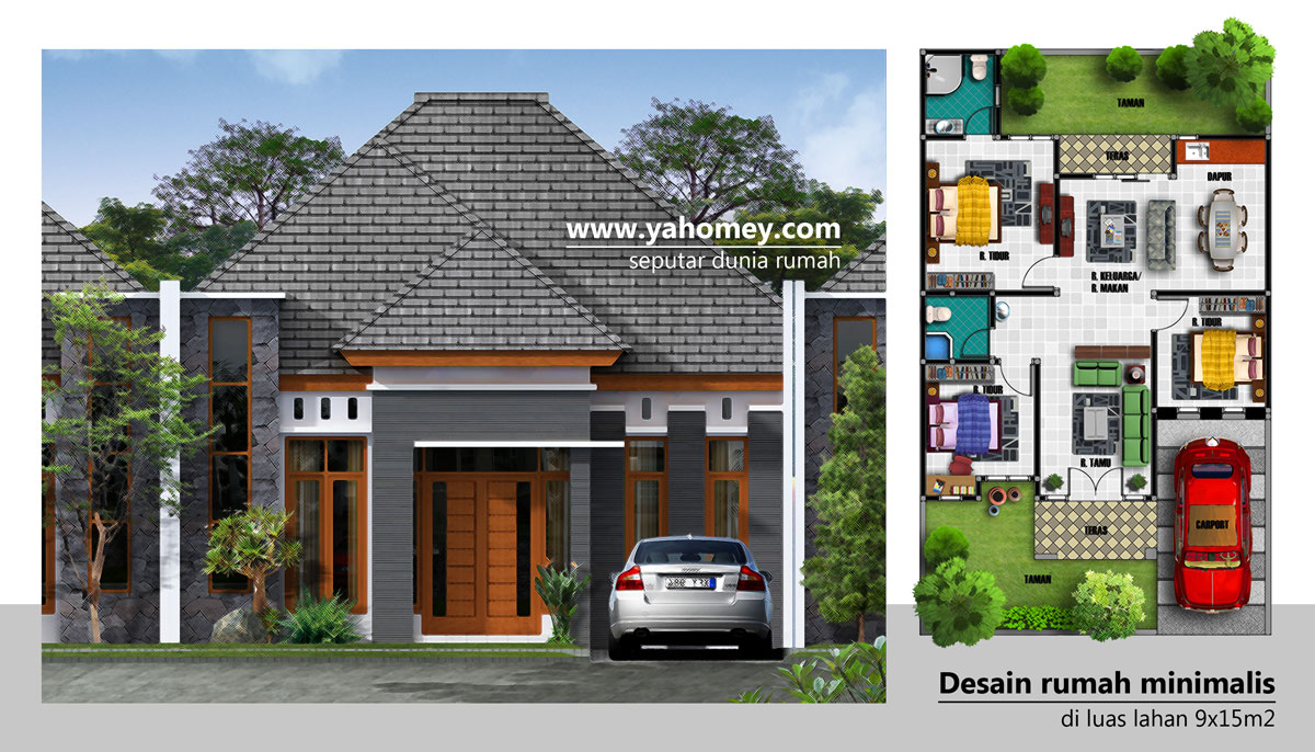 68 Desain Rumah Minimalis Ukuran 15x15