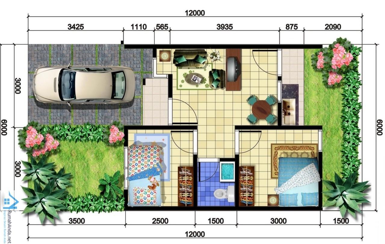 69 Desain Rumah Minimalis Ukuran 6x12