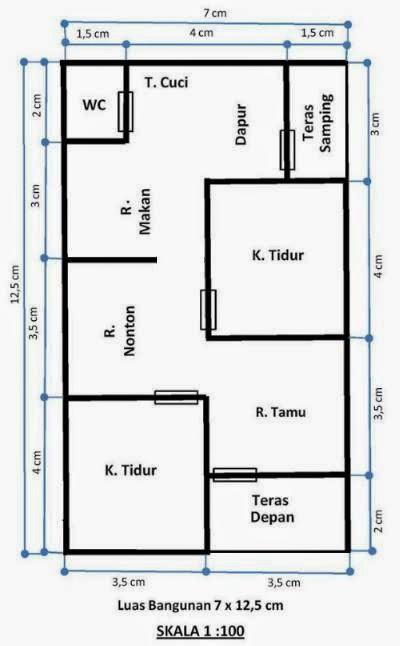 Denah Rumah Type 36 Skala 1 100