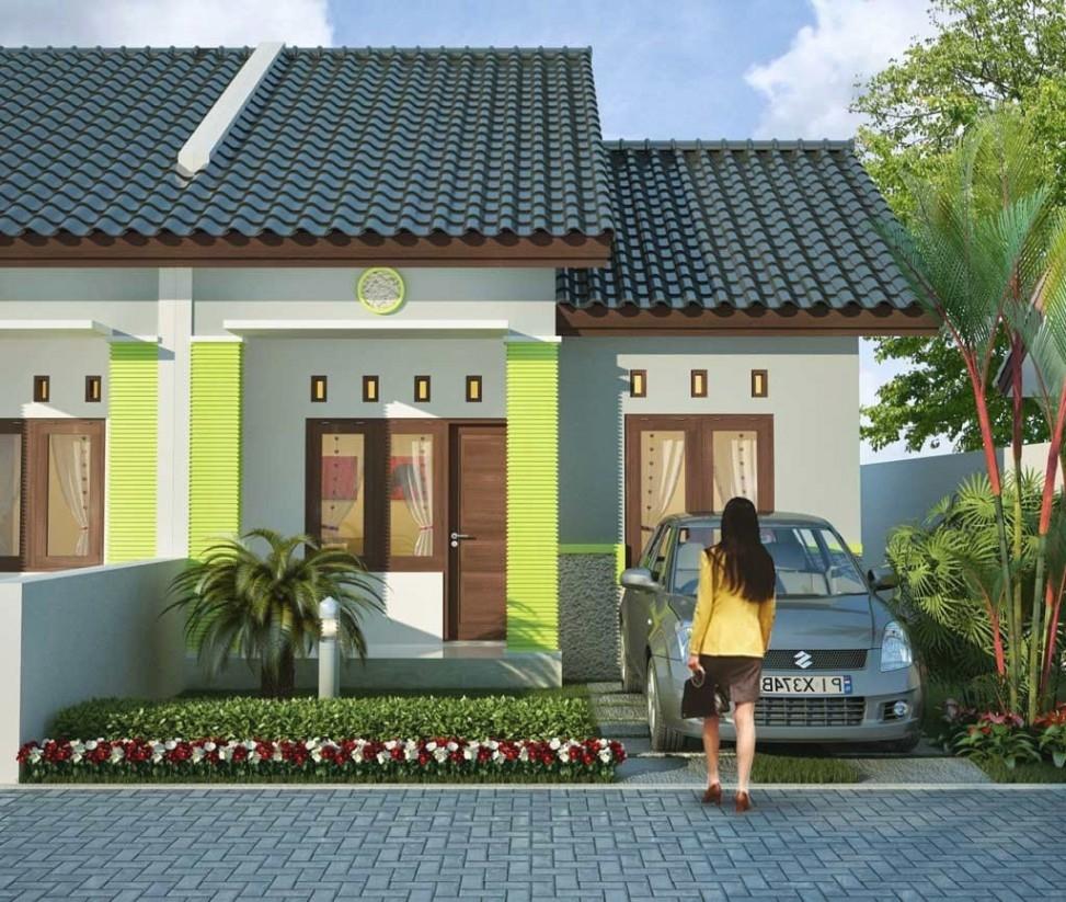 Desain Eksterior Rumah Minimalis 1 Lantai Warna Cat Rumah Hijau