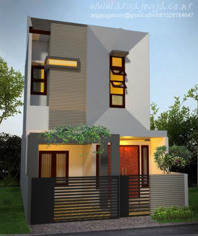 desain fasad unik minimalis rumah 2 lantai lebar 6 meter