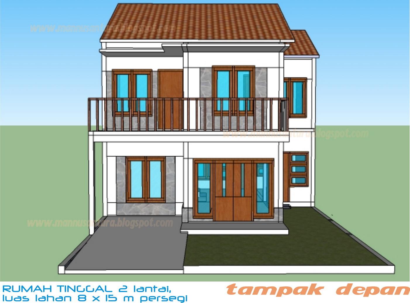 Desain Rumah Tinggal Dua Lantai Di Atas Lahan 8 X 15 Meter Persegi
